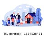 grandchildren visiting their...   Shutterstock .eps vector #1834628431