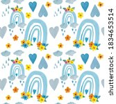 seamless pattern with blue... | Shutterstock . vector #1834653514