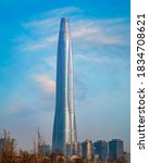 Small photo of Tianjin, China - Jan 15 2020: Tianjin CTF Finance Center, constructed in 2013 and finished in 2019. The tower is the 2nd tallest in Tianjin after Golding Finance 117