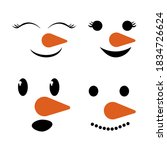 Set Cute  Funny Snowman Faces...