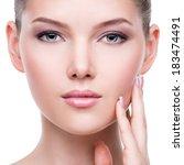 closeup portrait of beautiful... | Shutterstock . vector #183474491