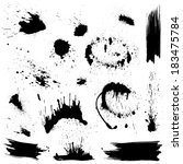 set of black blots and ink... | Shutterstock .eps vector #183475784