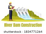 river dam construction semi...   Shutterstock .eps vector #1834771264