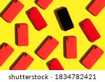 Many Red Cell Phones On Yellow...