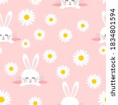 seamless pattern with daisy...   Shutterstock .eps vector #1834801594