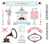 vintage collection of vector... | Shutterstock .eps vector #183480164