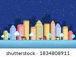 winter snow tree snowfall city...   Shutterstock .eps vector #1834808911