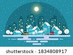 winter snow tree snowfall city...   Shutterstock .eps vector #1834808917