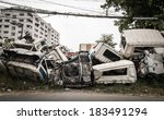 Crushed Truck In Car Graveyard