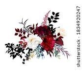 burgundy red and white flowers... | Shutterstock .eps vector #1834920247