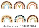 set of  rainbows with heart.... | Shutterstock .eps vector #1834923844