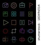 ui flat icons set   neon effect ...
