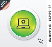 video chat laptop sign icon....