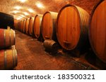 wine barrels in wine vaults in... | Shutterstock . vector #183500321