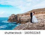 bride and groom near the ocean... | Shutterstock . vector #183502265