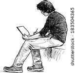young man makes sketches | Shutterstock .eps vector #183504365