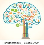 network brain | Shutterstock .eps vector #183512924