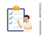 young man point to clipboard... | Shutterstock .eps vector #1835134141