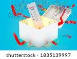 Test COVID-19 coronavirus, rapid test cassette inside gift box, 3D rendering on blue background - stock photo