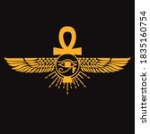 pharaonic wings and the key to... | Shutterstock .eps vector #1835160754