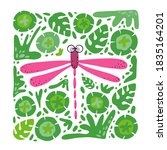 cute dragonfly on the floral... | Shutterstock .eps vector #1835164201