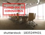 meeting room office closed due... | Shutterstock . vector #1835249431