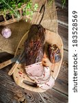 Delicious smoked ham cooked in the traditional way - stock photo
