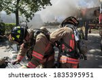 Closeup Of Firefighters...