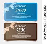 gift cards with ribbons vector template