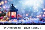 Christmas lantern with fir...