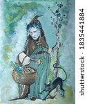 fantasy gouache painting old... | Shutterstock . vector #1835441884