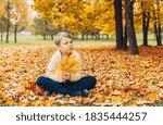 A Boy Sitting In An Autumn Park ...