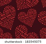"Seamless pattern of hearts consisting phrases ""I love you"" in the languages of Europe (En, Ru, De, Es, Fr, It, Pl, Uk, Rom, Hun, El, Pt, Cs, Sr, Be, Da, Fin, No, Mk, Ga, Et, Is.."