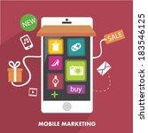 mobile marketing in flat design | Shutterstock .eps vector #183546125