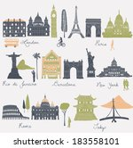 travel and tourism locations | Shutterstock .eps vector #183558101