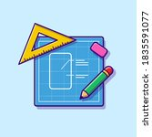 sketch paper with pencil  ruler ... | Shutterstock .eps vector #1835591077