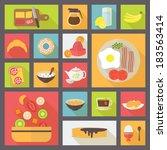 icons set for food  breakfast ... | Shutterstock .eps vector #183563414
