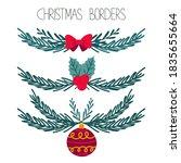 christmas botanical borders set.... | Shutterstock .eps vector #1835655664
