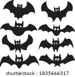 halloween set of bats in black    Shutterstock .eps vector #1835666317