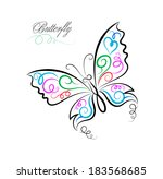 vector sketch of butterfly on... | Shutterstock .eps vector #183568685