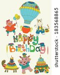 happy birthday colorful... | Shutterstock .eps vector #183568865