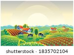 summer countryside landscape... | Shutterstock .eps vector #1835702104