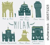 milan landmarks and monuments | Shutterstock .eps vector #183571325