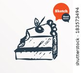 hand drawn cake. sketched bite... | Shutterstock . vector #183573494