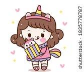 cute girl vector wear unicorn... | Shutterstock .eps vector #1835778787