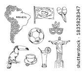 brazil hand drawn symbols set.... | Shutterstock .eps vector #1835828347