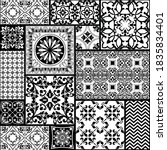 seamless patchwork tile with... | Shutterstock .eps vector #1835834401