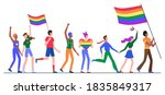 people on lgbt pride parade... | Shutterstock . vector #1835849317