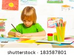 little 4 years old boy drawing... | Shutterstock . vector #183587801