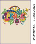 peace lettering psychedelic...   Shutterstock .eps vector #1835890021